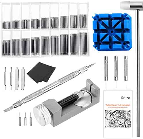 Selizo Watch Link remover Kit with User Manual – Watch Spring Band Tool and Link Remover with Watch Pin for Watch Repair