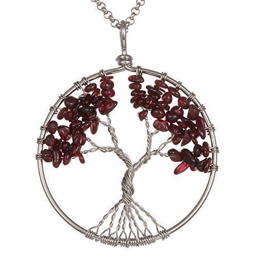 Garnet Family Pendant (Gemstone Necklace Pendant Tree of Life, BRCbeads Garnet Crystal Healing Point Reki Chakra Unisex Stainless Steel Chain 20)