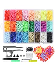 MSDADA Snaps Buttons Snap Pliers, 400 Sets 24-Colors T5 Plastic Buttons, No-Sew Starter Fasteners Kit for Sewing, Crafting, Clothing and Baby Diaper Bibs