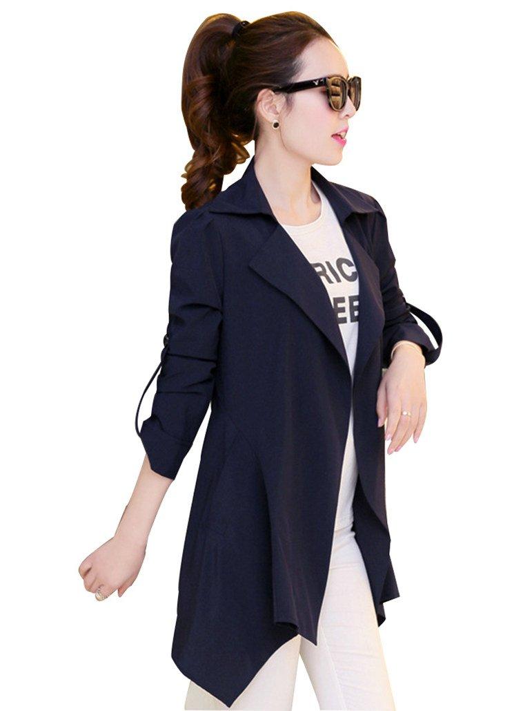 MissFox Donne Hem Asimmetrico del Cappotto di Trincea Jacket