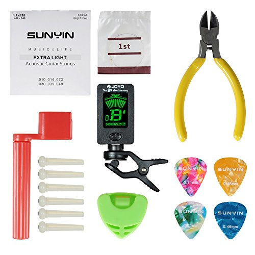 Guitar String Winder,Strings Tool Kit Set for Starter with Acoustic Guitar Winder Cutter Tuner Bridge Pins Picks & Pick Holder,Everything for Change the String (Acoustic Guitar Replacement Neck)