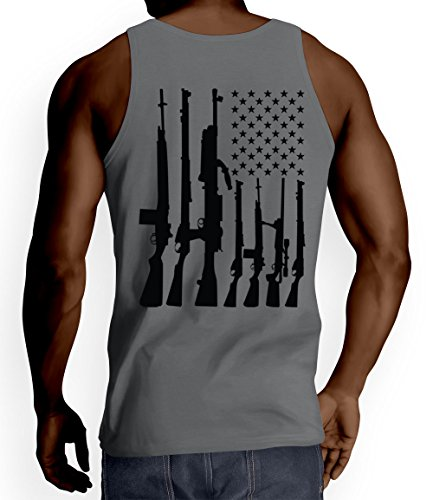 Mens Big Big American Flag With Machine Guns Tank Top T-shirt (2XL, Charcoal)