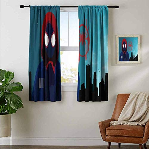 ZhiHdecor Bedroom Curtains 2 Panel Sets Spiderman Miles Morales Spiderman Into The Spider Verse 4K Tc Noise Reducing Curtain