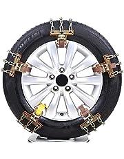 SKLLA Cadenas de Cadena de Coches de Nieve, Anti-Slip Chain de Acero para Cadena de Seguridad para neumáticos Cadena de Seguridad para Coches (Tres tamaños 6 Piezas)