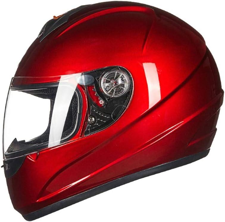 ヘルメット バイクヘルメット、オートバイフルフェイスヘルメット防曇レンズオールラウンドサイクリング安全キャップ電気自動車アダルトヘルメット 赤
