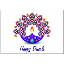 Zaffron Diwali Holiday Greeting Cards (Diwali Light Design 10 pack)
