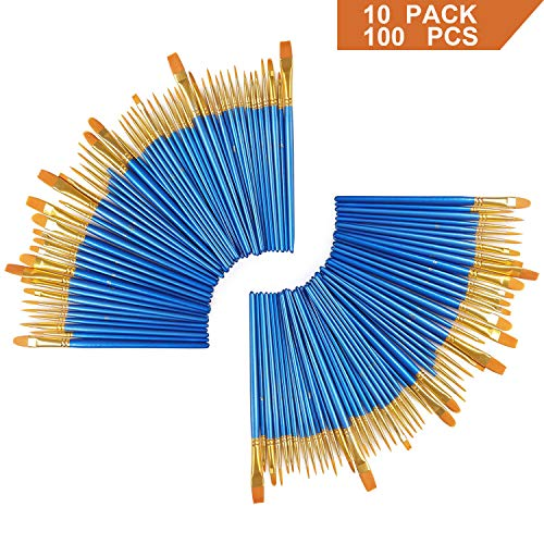 AOOK 100 Pieces Paint Brush Set Professional Paint Brushes Artist for Watercolor Oil Acrylic Painting (10-Pack 100PCS) -