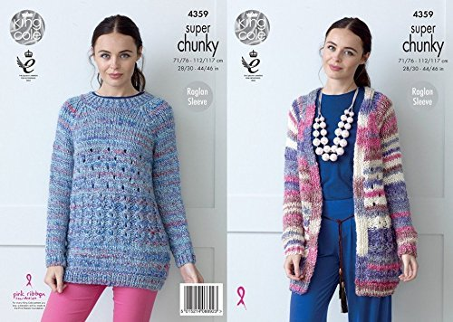 King Cole Ladies Raglan Jacket & Sweater Gypsy Knitting Pattern 4359 Super Chunky by King Cole by King Cole