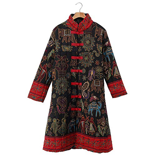 - JOFOW Womens Jacket Tang Suit Chinese Flowers Animal Totem Print Stand Collar Warm Ethnic Exotic Long Loose Coats Plus Size (L =US:2-4,Black-Tank Suit)