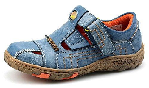 TMA Damen Schuhe Freizeit Echtleder Halbschuhe Sandalen 1399 Blau