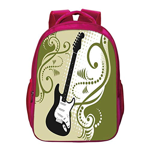 "- Music Lightweight School Bag,Electric Bass Guitar Figure with Swirls Background Artful Illustration for Kids Girls,11.8""Lx6.3""Wx15.7""H"