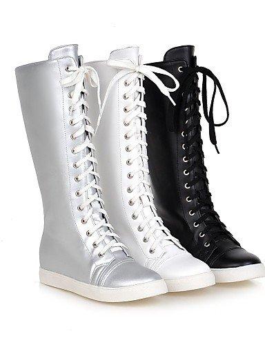 Uk4 Cn43 Xzz Cn36 Botas Casual 5 Uk8 5 De Eu42 Redonda Anfibias Zapatos Punta us10 Eu36 Mujer Negro Semicuero Plataforma us6 White Vestido Blanco Silver Plata qxSwFrRq