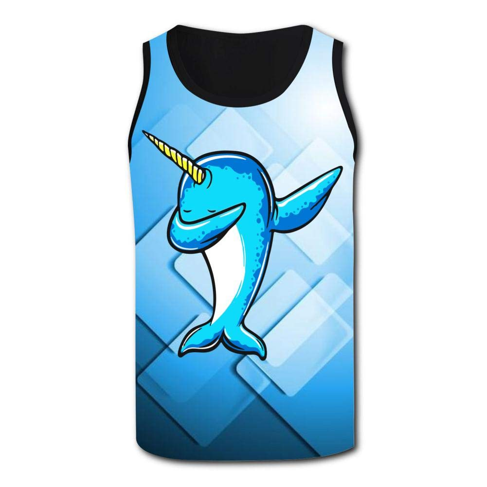 Mens Outdoor Sport Dabbing Narwhal 1 Tank Top Vest T-Shirt Fast Drying Tee