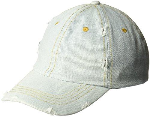 D&Y Women's Distressed Denim Baseball Cap, Blue, One Size
