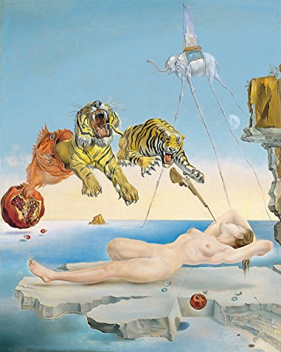 (Salvador Dali - Dream Caused by The Flight of a Bee Around a Pomegranate a Second Before Wakening up, Size 24x30 inch, Gallery Wrapped Canvas Art Print Wall décor)