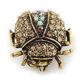 Small Topaz, AB Crystal 'Ladybug' Brooch In Gun