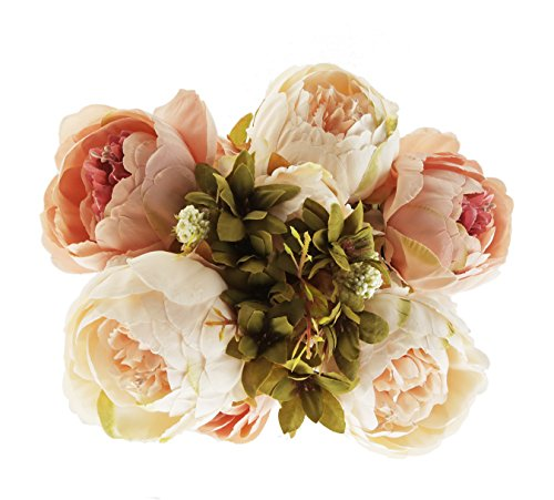 EZFLOWERY 1 Pack Artificial Peony Silk Flowers Arrangement Bouquet for Wedding Centerpiece Room Party Home Decoration, Elegant Vintage, Perfect for Spring, Summer and Occasions (1, Light Pink)