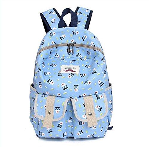Women's Bagpack Denim Backpack Beard Leisure Sports Shoulders Bag (Skyblue)