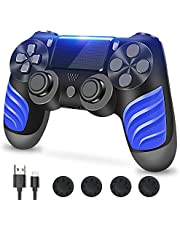 PS4-controller, controller voor PS4, draadloze controller met dubbele vibratie, stereo hoofdtelefoonaansluiting, touchpad, zes assen bewegingsbesturing, compatibel met PS4/Slim/Pro-console (Black)