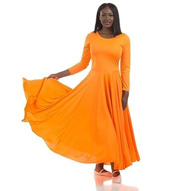 25ed80b84 Danzcue Girls Praise Loose Fit Full Length Long Sleeve Dance Dress