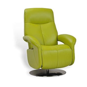 Paros - Sillón de Relax Manual, Muy cómodo, de Piel, Verde ...