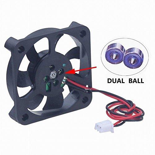 Gdstime 12V DC Power 50mm x 50mm x 10mm 5CM Dual Ball Bearing Small Brushless Cooling (50mm 12vdc Fan)