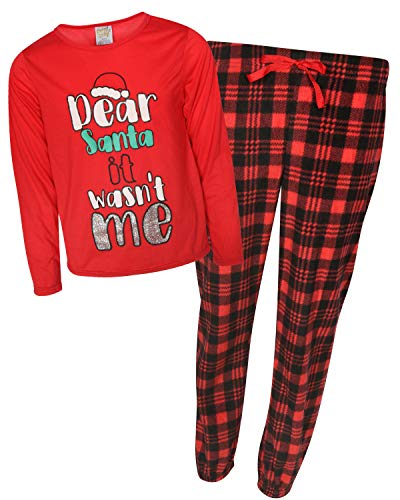 Sweet & Sassy Girls' 2-Piece Knit Microfleece Christmas Pajama Set, WASN\'t Me, Size 4' ()