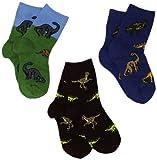 Jefferies Socks Little Boys' 3-7 Dino Triple Treat Socks  (Pack of 3), Pine, Toddler