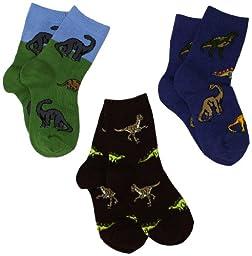 Jefferies Socks Little Boys\' 3-7 Dino Triple Treat Socks  (Pack of 3), Pine, Small