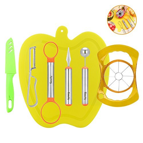 7-in-1 Fruit Tools Set, Security  Stainless Steel DIY Fruit Knife Kits  Melon Baller Scoop Apple Slicer Corer for Home and Kitchen