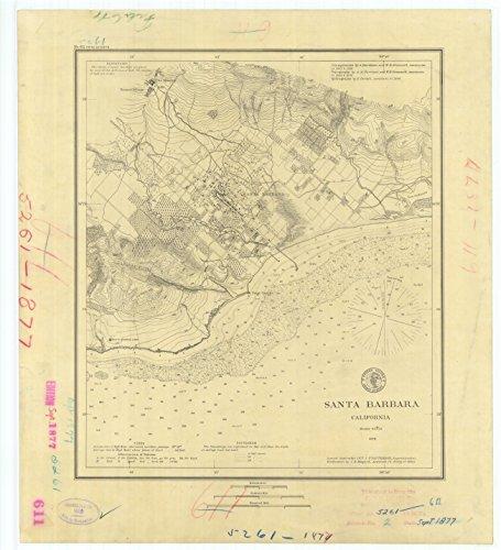 Vintography 24 x 36 Giclee Print Nautical Map Image Santa Barbara California 1877 NOAA 11a