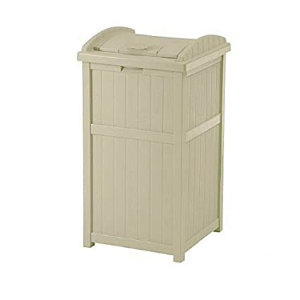 BS Patio Trash Can Decorative Outdoor Long Lasting Resin Waste Basket With  Latching Lid Indoor