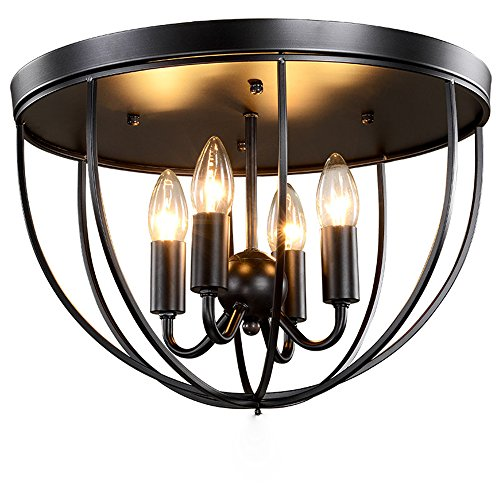 kunmai vintage black metal cage ceiling light flush mount fixture 4 lights candle style. Black Bedroom Furniture Sets. Home Design Ideas