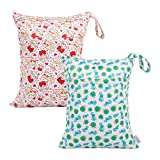 ALVABABY 2pcs Cloth Diaper Wet Dry Bags Waterproof Reusable with Two Zippered Pockets Travel Beach Pool Daycare Soiled Baby Items Yoga Gym Bag for Swimsuits or Wet Clothes LX-H356357