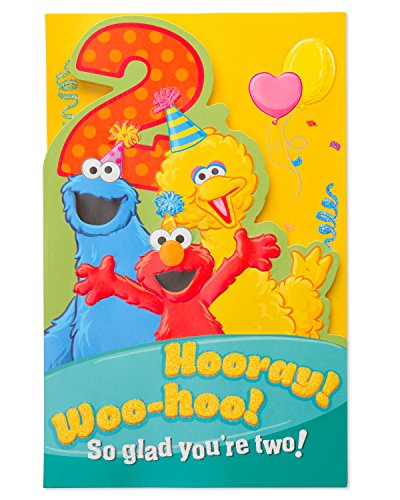 American Greetings Sesame Street 2nd Birthday Greeting Card with Glitter ()