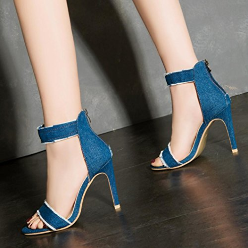 Omiky® 2017 Pumps Fashion High Heels Schuhe Hochzeit Damen Denim High-Heels Sandalen Hellblau
