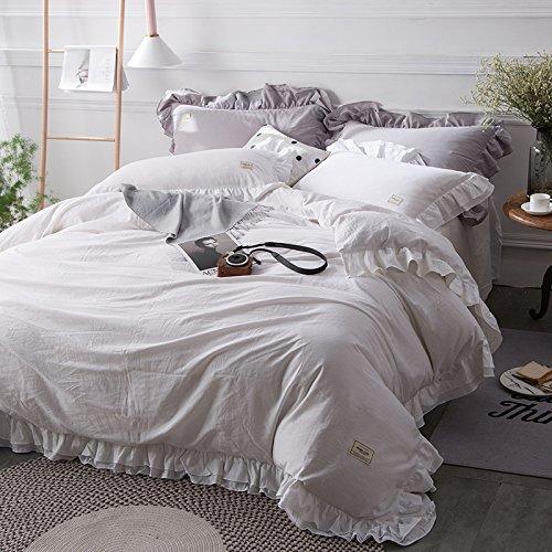 100%コットンロマンティックプリンセススタイル ホワイト/ピンク/グレー/パープル/グリーン4寝具セット 綿のベッドリネンセット クイーンサイズ/キングサイズ キルト羽毛布団カバーベッドスカート (クイーンサイズ, ホワイト) B075RC6D2R クイーンサイズ ホワイト ホワイト クイーンサイズ