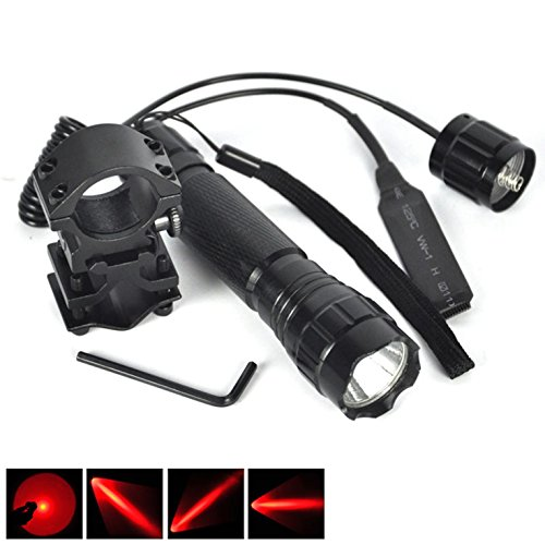 1 Set (1Pcs) Important Fashionable 600-Lumens Red LED Flashlight SWAT Torch Rifle Gun Rail Police Lights Military Grade Tactical Lamp Colors Black with Mount and Remote - Cateye 600