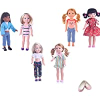 ZWSISU 7PCS doll Wellie Wishers swim sport outfit Clothes&shoes fits 14 inch doll American Girl Wellie Wishers or Hearts for Hearts