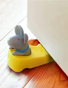 HAICHEN TEC Cute Rubber Mouse Door Stopper Wedge Non-Slip Non-Scratching Baby Child Safety Finger Protector Doorstop Works on All Floor Surfaces Universal (Gray)