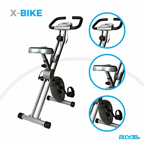 Folding Exercise Bike with 8-Level Magnetic Control System And LCD Display 300lb-Capacity Heavy Duty Compact Stable Upright Cycling machine Stationary Cardio Cycle (Level Bike)