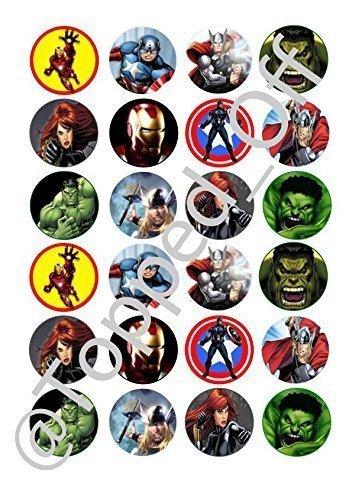 Topped Off 24 x Adornos para cupcakes redondos Marvel ...