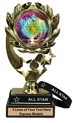 (Express Medals Science Fair Trophy with Removable Wearable All Star Wrist Band Marble Base and Personalized Engraved Plate)