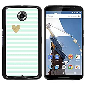 Be Good Phone Accessory // Dura Cáscara cubierta Protectora Caso Carcasa Funda de Protección para Motorola NEXUS 6 / X / Moto X Pro // Green Mint Gold Heart Love Stripes White