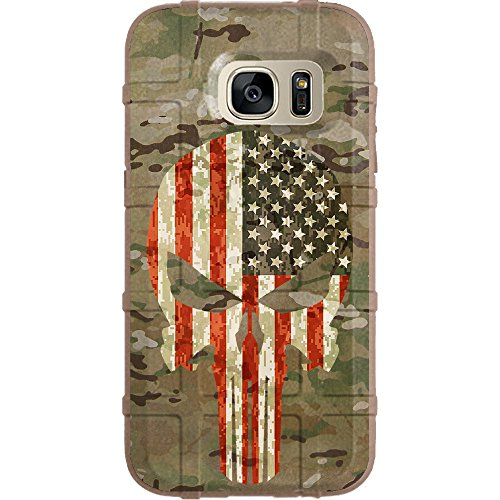 (EGO Tactical Limited Edition Design UV-Printed onto a MAG780 Field Case Compatible with Samsung Galaxy S7 (Not for Edge or Active) Multicam/Scorpion Camouflage, Color US Flag Punisher FDE)