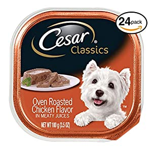 Cesar Canine Cuisine Wet Dog Food Oven Roasted Chicken Flavor, (Pack Of 24) 3.5 Oz. Trays 66
