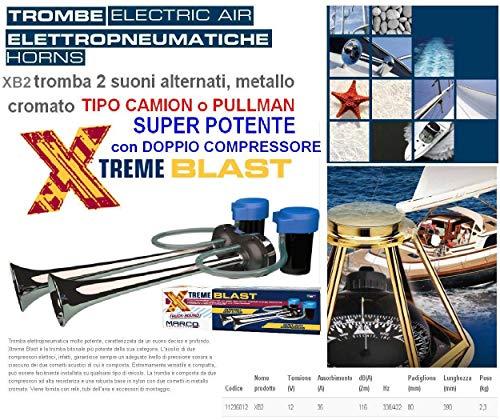 TROMBE MARINE NAUTICHE BITONALI con 2 COMPRESSORI MADE in ITALY 100/% Suono Tipo PULLMAN ELETTRO-PNEUMATICHE MOLTO POTENTI 116dB 12V BARCA AUTO CARAVAN CAMPER CAMION XB2
