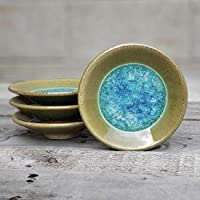 GEODE RING DISH: Individual Geode Ring Dish in JADE, Fused Glass Dish, Trinket Dish, Soap Dish, Crackle Glass, Candle Holder, Dock 6 Pottery, Kerry Brooks Pottery
