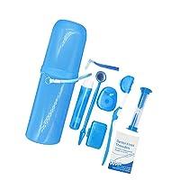 Portable Case Orthodontic Care Kit Orthodontic Toothbrush Kit for Braces for Orthodontic Patient Travel Oral Care Kit Dental Travel Kit Interdental Brush Dental Wax Dental Floss (8 Pcs/Pack)-Blue