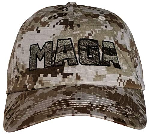 MAGA - Sand CAMO Hat - American Flag Embossed in MAGA - Trump TAN Camo Cap (Digital Sand CAMO w/Army Green MAGA) ()